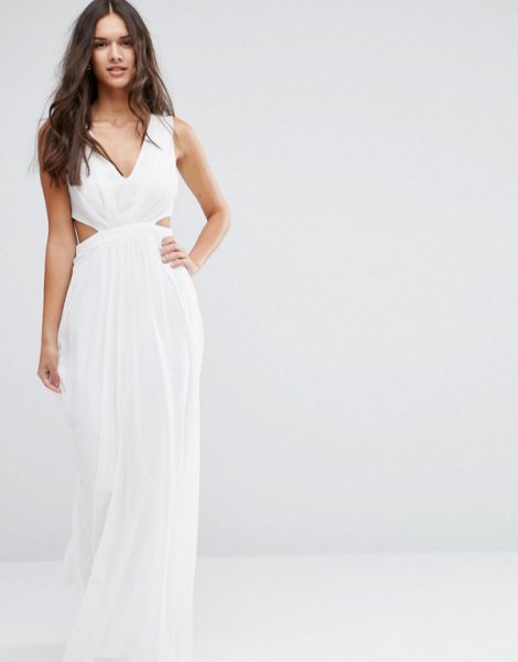 white v neck chiffon floor length flowy dress