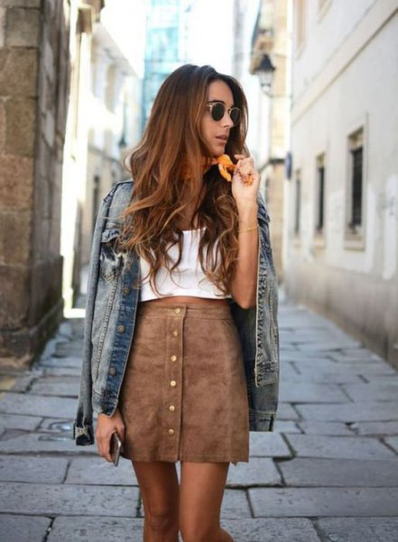 white vest top with grey suede mini skirt and denim jacket