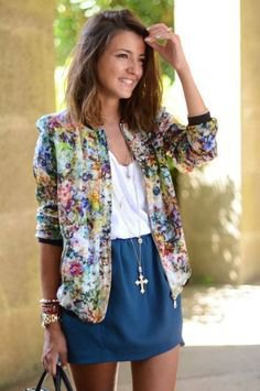 yellow and blue floral printed bomber jacket with blue mini skirt