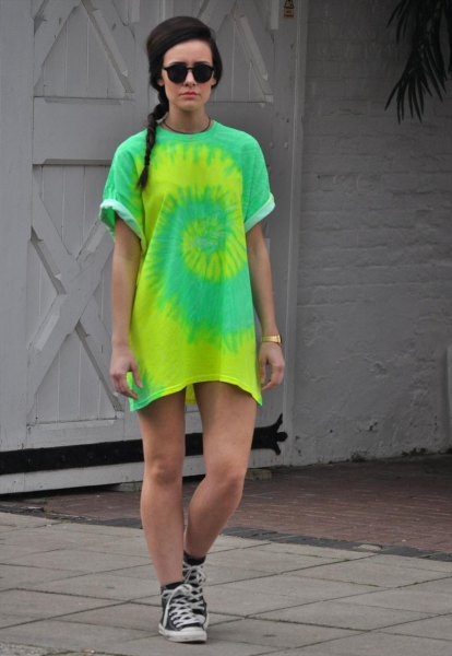 yellow and green tie dye t shirt dress with sneakers