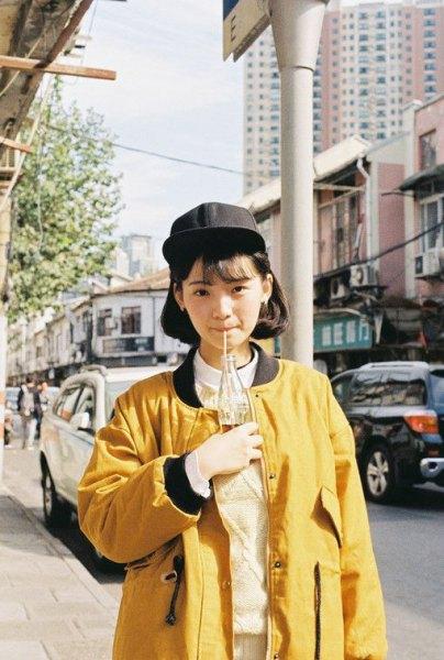 yellow oversized jacket with white collar shirt
