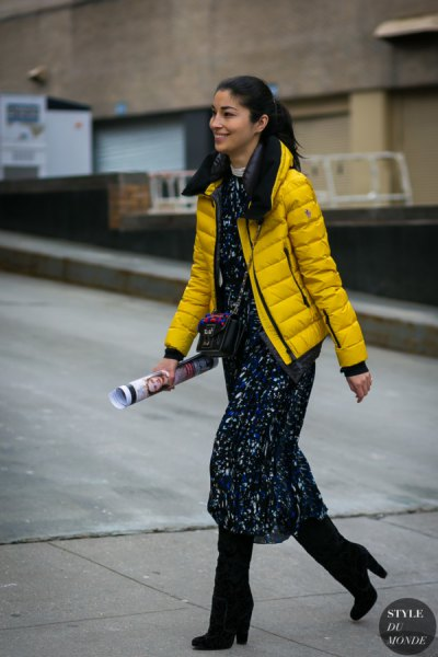 yellow puffer jacket with black printed maxi shift dress