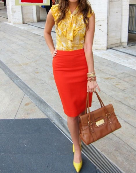 yellow ribbon bow sleeveless chiffon blouse with orange pencil skirt