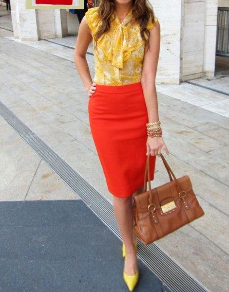 yellow ribbon bow sleeveless chiffon blouse with orange pencil skirt