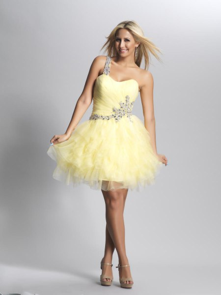 yellow single silver strap mini tutu dress