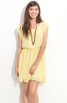 yellow sleeveless gathered waist mini chiffon dress