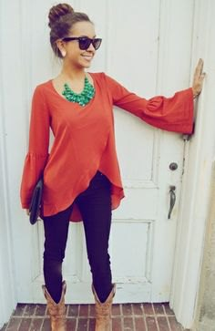 bell sleeve carol shirt with statement necklace