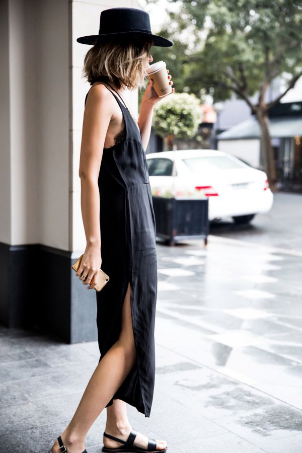 best black slit dress outfit ideas
