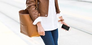 best tan leather jacket outfit ideas for women