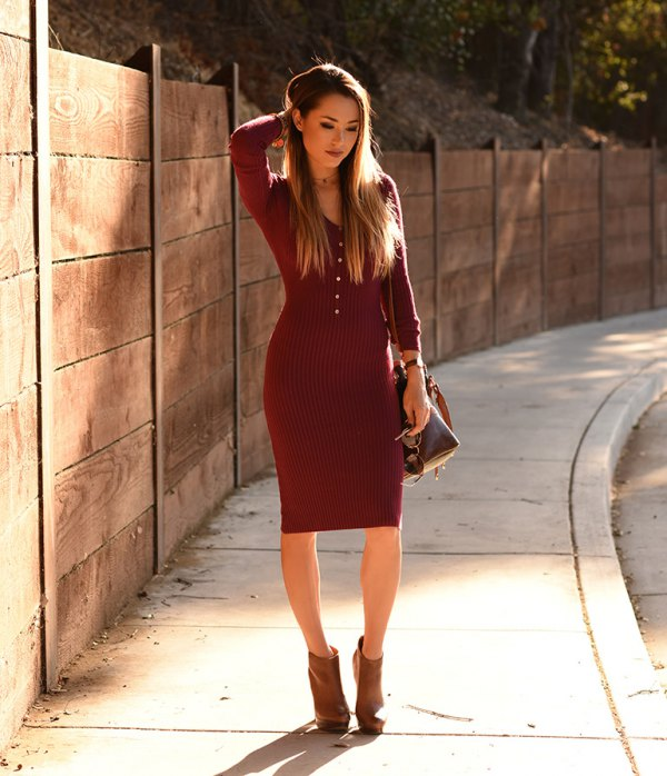 How to Wear Red Sweater Dress 15 Attractive Outfit Ideas