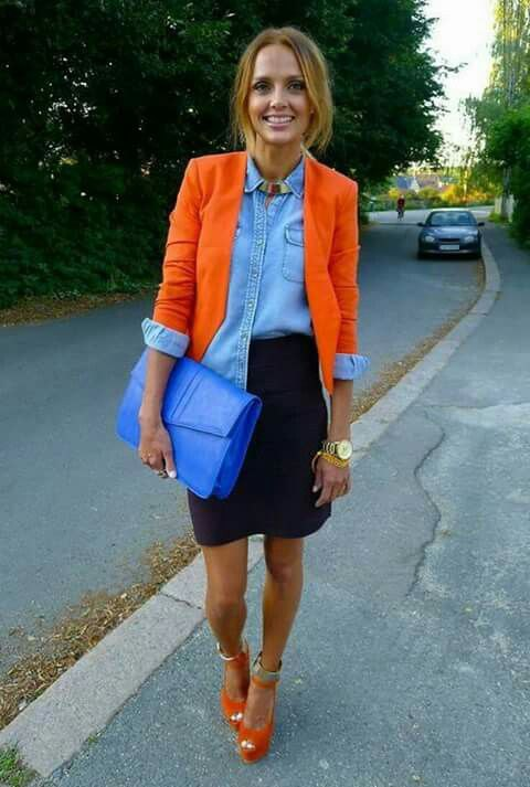 best orange blazer with light blue chambray button up shirt and pencil skirt