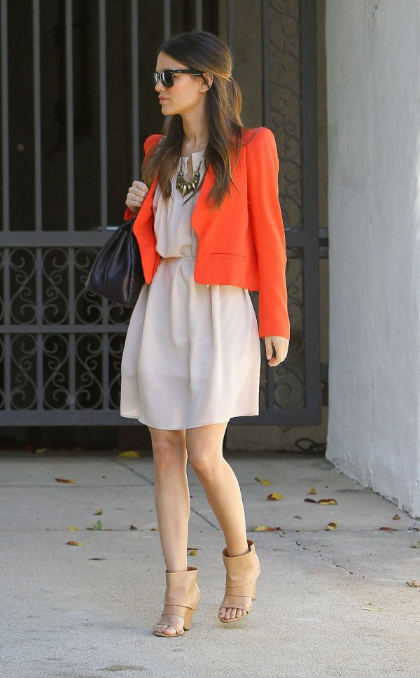 best orange cotton jacket with pale pink gathered waist mini dress