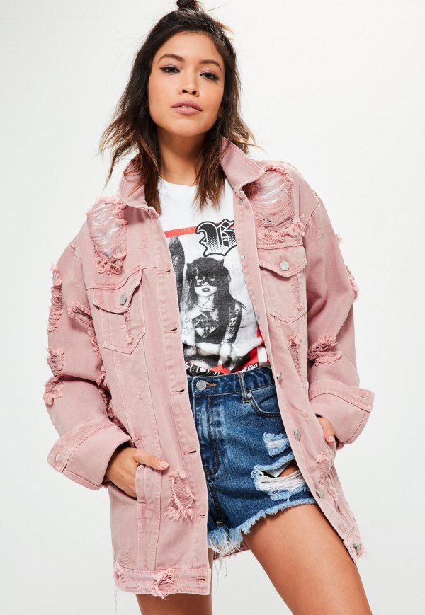 best pink denim jacket outfit ideas for women