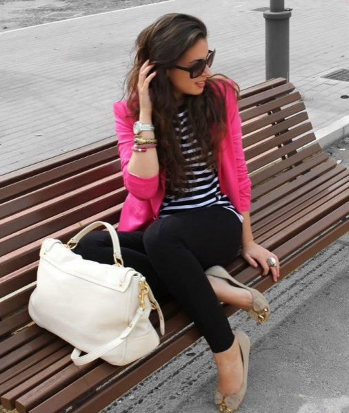 black and white striped long sleeve t shirt and pale pink flats