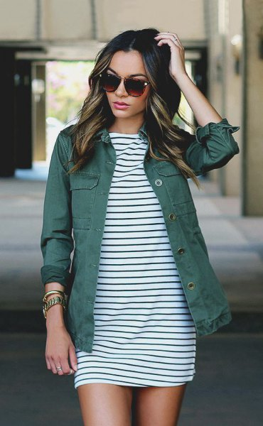 black and white striped shift mini dress with grey denim jacket
