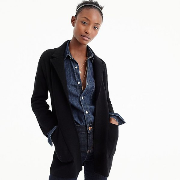 black blazer with blue button up chambray shirt