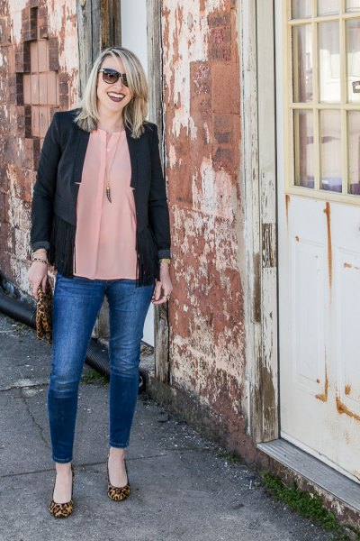 black casual blazer with blush pink chiffon blouse and blue jeans