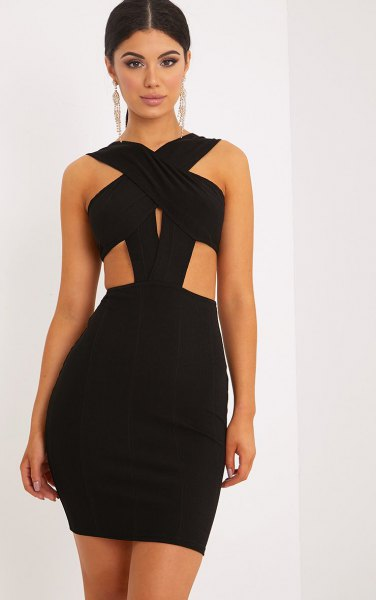 black criss cross neck cutout side mini bandage dress