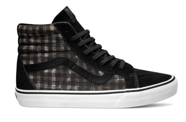 black grey and white high top canvas shoes