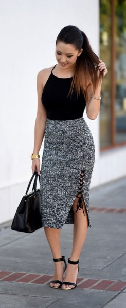 black halter top with heather grey midi knit skirt