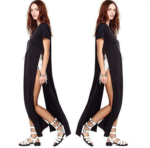 black maxi length side slit shirt with white mini shorts