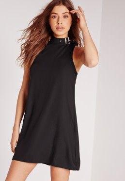 black mock neck mini shift dress with matching open toe heels