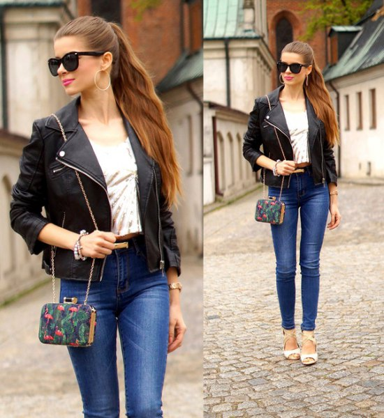black petite jacket with blue skinny ankle jeans