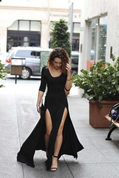 black scoop neck maxi flared double slit dress