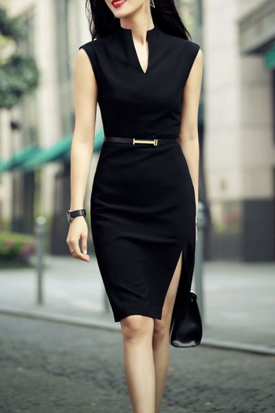 black sleeveless belted knee length bodycon slit dress