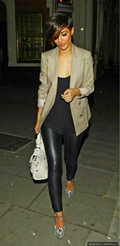 blazer with black scoop neck tank top and leather pants
