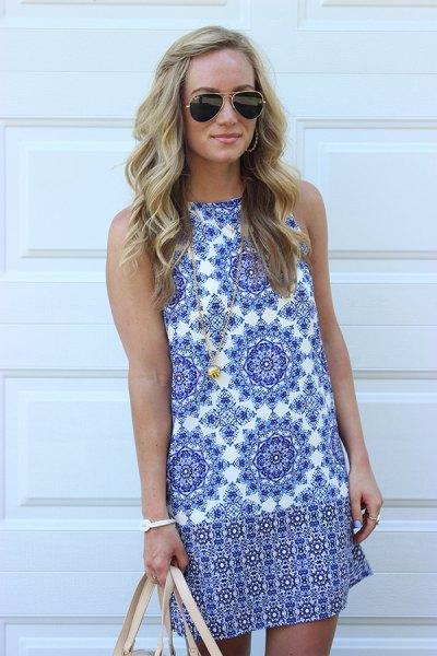blue and white tribal printed mini sleeveless shift dress