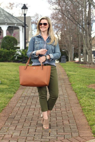 blue denim jacket with checkered blouse and cropped green pants