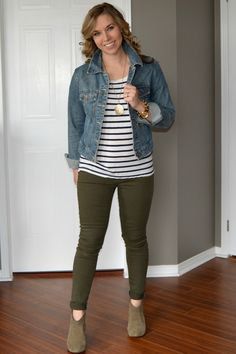 blue denim jacket with striped tee and olive green skinny pants
