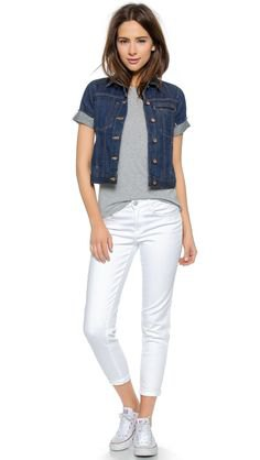 blue short sleeve cuffed denim jacket with white cropped jeans