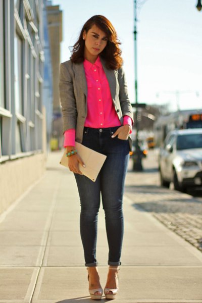 blush button up shirt with grey blazer