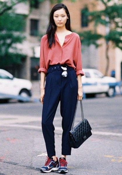 blush pink carol shirt with high waisted black pants