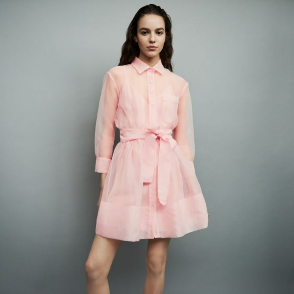 blush pink chiffon semi sheer mini flared shirt dress