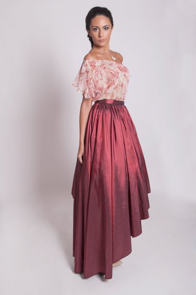 blush pink floral printed chiffon off the shoulder top with maxi taffeta skirt