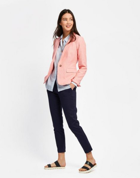 blush pink linen blazer with light blue shirt and slide sandals