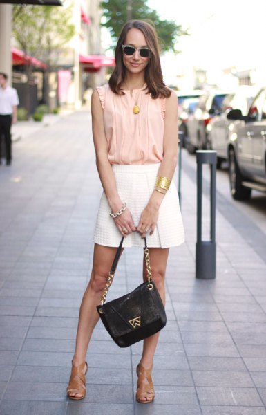 blush pink pleated sleeveless chiffon top with mini skater skirt