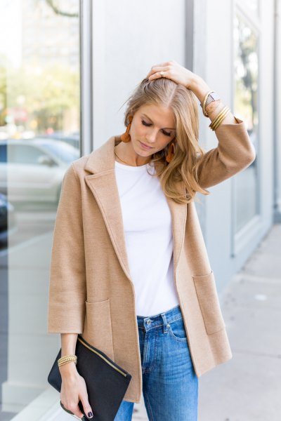 blush pink wool sweater blazer with white t shirt and blue slim cut jeans