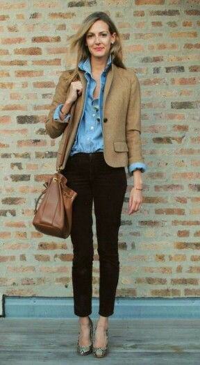 brown blazer with blue chambray button up shirt with black cropped jeans