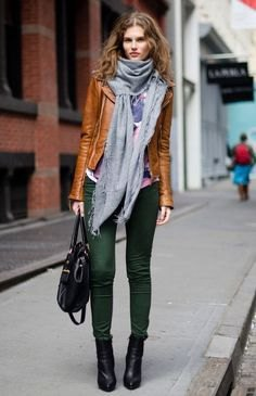brown leather jacket with grey turtleneck top and matching scarf