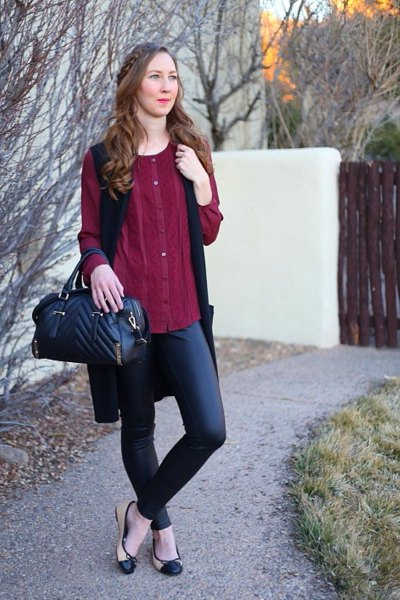 burgundy button up dressy tunic blouse with black leather pants