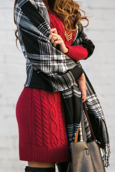 cable knit dress with black and grey blanket scarf