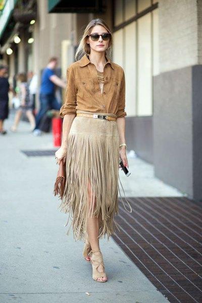camel chambray shirt with grey midi fringe skirt