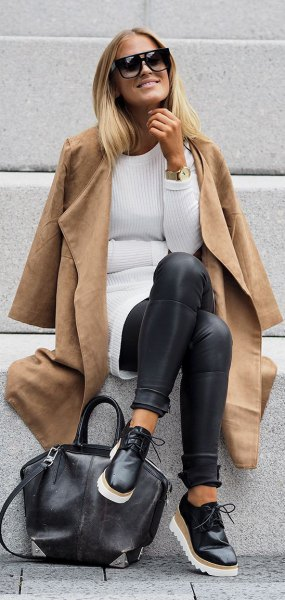 camel wide sleeve long jacket with white ribbed sweater dress