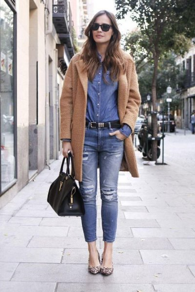 camel wool long jacket with blue chambray shirt and ripped jeans