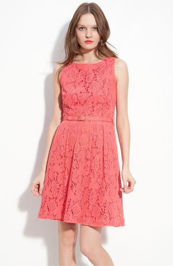 carol belted sheath mini lace dress with pink heels