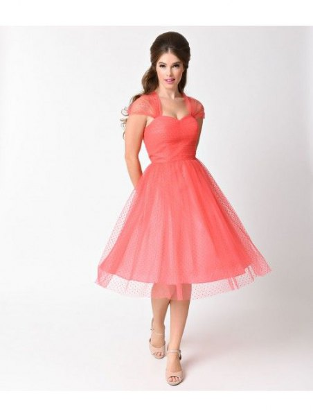 carol blush pink sweetheart neckline flared midi cocktail dress